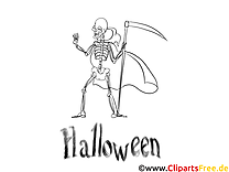Squelette dessin – Coloriage halloween à télécharger