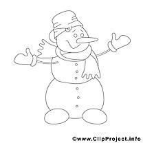 Bonhomme de neige image gratuite – Hiver à colorier