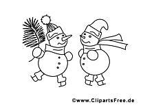 Bonhommes de neige clip art gratuit – Hiver à imprimer