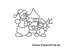 Bonhommes de neige clip arts – Hiver à imprimer