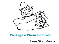 Chat réveil clip art gratuit – Hiver à colorier