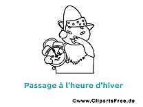 Chat réveil image gratuite – Hiver à colorier