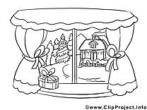 Fenêtre clipart – Hiver dessins à colorier
