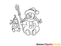 Hiver clip art gratuit – Hiver à colorier