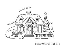 Maison dessin gratuit – Hiver à colorier
