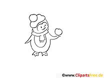 Pingouin dessin – Hiver gratuits à imprimer