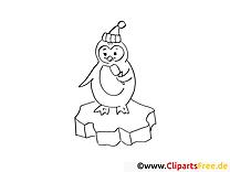 Pingouin dessins gratuits – Hiver à colorier
