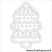 Sapin image – Coloriage hiver illustration