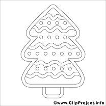 Sapin image – Coloriage hiver illustration