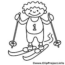 Ski garçon illustration – Hiver à imprimer