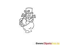 Tambour bonhomme de neige clip arts – Hiver à imprimer