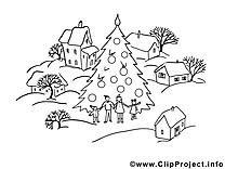 Village image – Hiver images à colorier