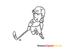 Hiver image – Coloriage hockey illustration