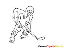 Joueur clipart – Hockey dessins à colorier