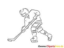 Sport d'hiver clip art gratuit – Hockey à colorier