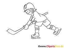 Sport d'hiver image gratuite – Hockey à colorier