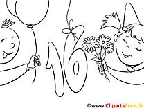 16 ans clipart gratuit – Invitations à colorier