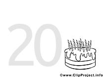 20 ans clip art – Invitations image à colorier