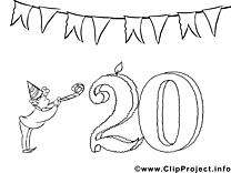 20 ans images – Invitations gratuit à imprimer