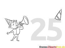 25 ans clip arts – Invitations à imprimer