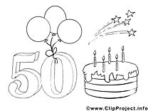 50 ans illustration – Coloriage invitations cliparts