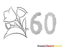 60 ans illustration – Invitations à colorier
