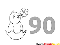 90 ans image – Coloriage invitations illustration