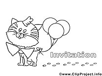 Ballons image – Coloriage invitations illustration
