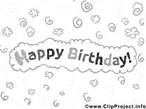 Bon anniversaire image – Invitations à colorier