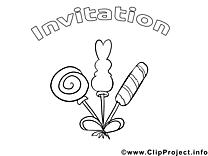 Bonbons dessin – Coloriage invitations à télécharger