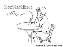 Café image à télécharger – Invitations à colorier