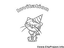 Chat dessin à télécharger – Invitations à colorier