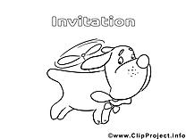 Chien illustration – Invitations à imprimer