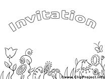 Clip art gratuit fleurs – Invitations à colorier
