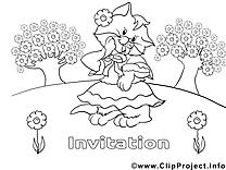 Coloriage chat invitations illustration à télécharger