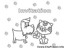 Coloriage chien invitations image à télécharger