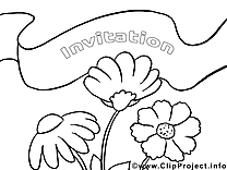 Coloriage fleur invitations image à télécharger