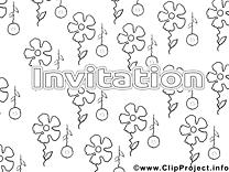 Coloriage fleurs invitations illustration à télécharger