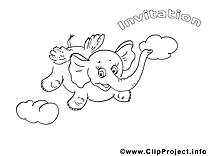 Éléphant dessin gratuit – Invitations à colorier