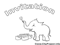 Éléphant images gratuites – Invitations à colorier