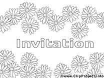 Fleurs clip art – Invitations image à colorier