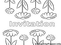 Fleurs illustration – Coloriage invitations cliparts