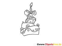 Gâteau clip art gratuit – Invitations à colorier