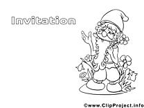 Gnôme image – Invitations images à colorier