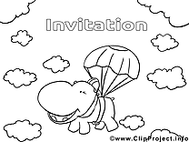 Hippopotame dessin à télécharger – Invitations à colorier