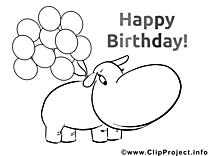 Hippopotame image à télécharger – Invitations à colorier