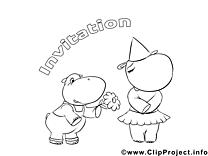 Hippopotames images – Invitations à imprimer