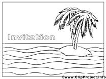 Île clip art – Invitations image à colorier