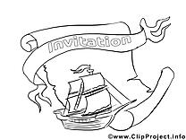 Navire clip art – Invitations image à colorier