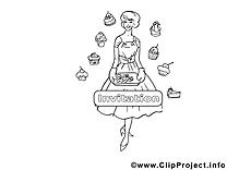 Pâtesserie illustration – Coloriage invitations cliparts